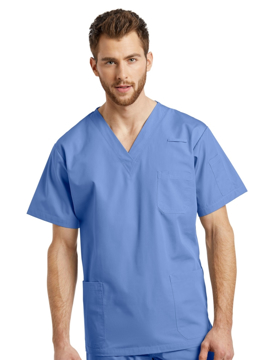 Picture of White Cross Three-Pocket V-Neck Scrub Top