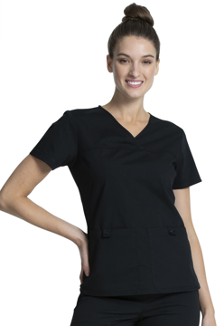 Picture of Cherokee Workwear Professionals Women's V-Neck Knit Panel Top