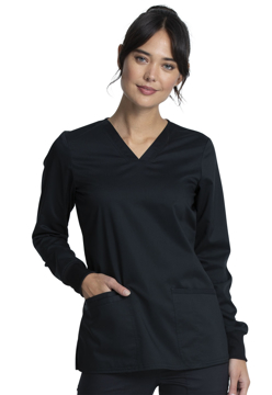 Picture of Cherokee Workwear Revolution Tech Women's Long Sleeve V-Neck Top